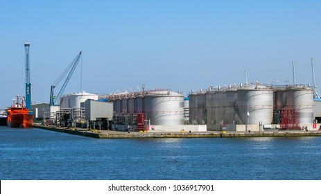 Rows of oil storage silo tanks in the Port of Antwerp.