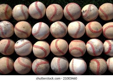 Rows of old baseballs