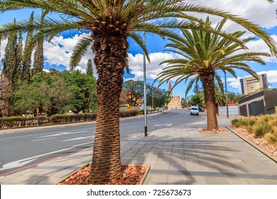 Rows of palm trees and modern building on the central street of Windhoek, Namibia