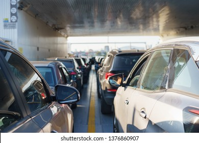 Rows of parked cars during transportation by ferry across the strait. Modern marine vehicles. Ferry. Soft focus and beautiful bokeh.