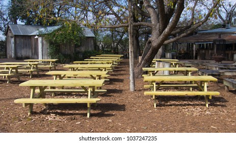 rows of picnic tables are perfect for an outdoor venue
