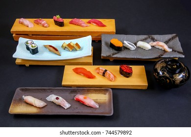 Rows of Plated Japanese Nigiri Sushi