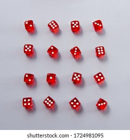 Rows of red dice on light background, square shape