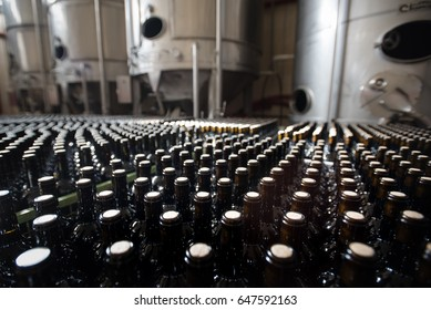 Rows of red wine bottles stand in front of fermentation vats at a winery.