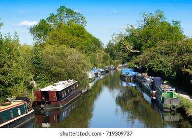Rows of riverboats moored near Newbury, UK