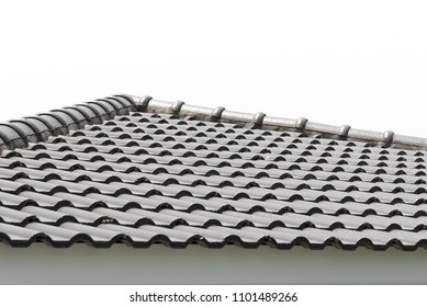 Rows of roof tiles on the top of house, Isolated on white background.