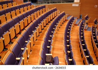 Rows of seats of a theater or functional hall