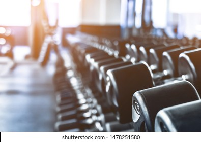rows with a set of dumbbells in modern gym