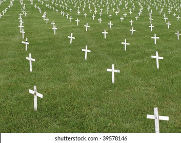 Rows of small white crosses stuck in green lawn to protest abortion