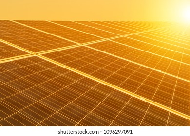 Rows of solar cells in solar power plant turn up skyward absorb the sunlight from the sun use light energy to generate electricity on sunset time