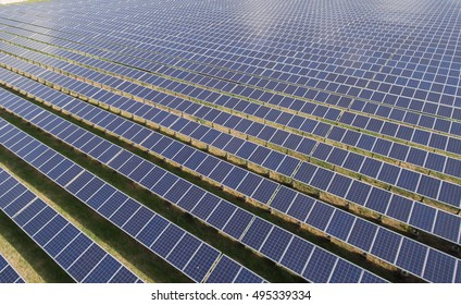 Rows of Solar panels in Solar Farm