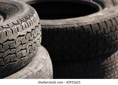 Rows of stacked tyres (2)