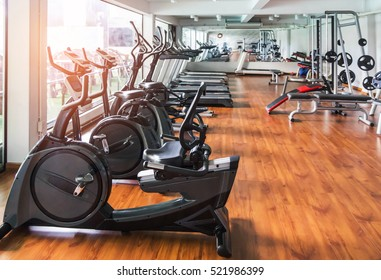 rows of stationary bike in gym modern fitness center room