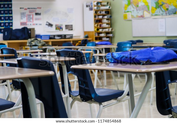 Rows Student Desks Chairs Within Classroom Stock Photo (Edit ...