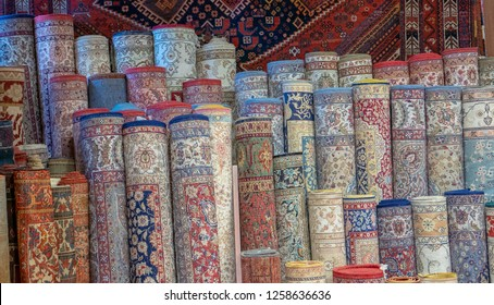 Rows of Turkish rugs being sold at a local outlet in Istanbul, Turkey.
