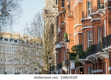 Rows of typical upmarket townhouses in central London