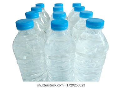 Rows of water bottles  on white background