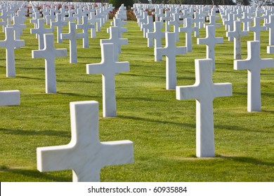 Rows of white crosses at the World War 2 American Cemetery, Colleville-sur-Mer, Omaha Beach, Normandy, France, Europe
