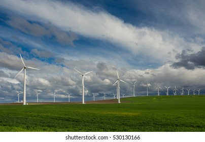 Rows of wind turbines line a grassy field in northern Oregon
