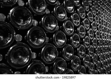 rows of wine bottles