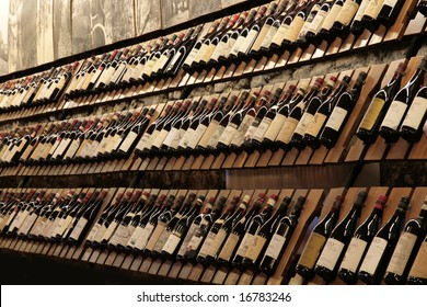 Rows of wine bottles in Enoteca Regionale del Barolo, Italy