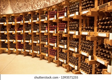 rows of wine bottles for sale