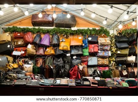 Rows Women Handbags On Market Stall Stock Photo (Edit Now) 770850871 ... c8bf39582ff43