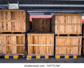 Rows of wooden box stacndby for shipping