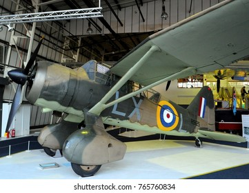 Royal Air Force Museum, London, UK - 10/27/15: Westland Lysander III R9125 in colours of 225 Squadron in Battle of Britain Hall.