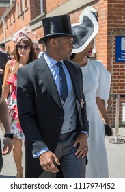 ROYAL ASCOT, BERKSHIRE, UK - JUNE 21: Russell Wilson and Ciara going to attend Royal Ascot horse racing on Ladies Day Thursday, June 21, 2018. Russell is an American football quarterback
