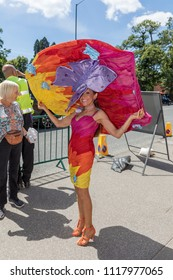 ROYAL ASCOT, BERKSHIRE, UK - JUNE 21: Mrs Tracy Rose going to attend Royal Ascot horse racing on Ladies Day Thursday, June 21, 2018. Tracy is a designer know for wearing massive hats at Ascot