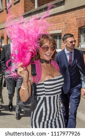 ROYAL ASCOT, BERKSHIRE, UK - JUNE 21: Lizzie Cundy going to attend Royal Ascot horse racing on Ladies Day Thursday, June 21, 2018. Lizzie is an English TV personality