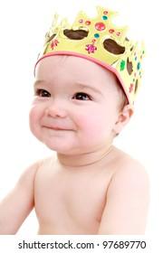 Royal baby wearing crown