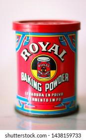 Royal baking powder vintage packaging. Baking powder from Royal, June 2019