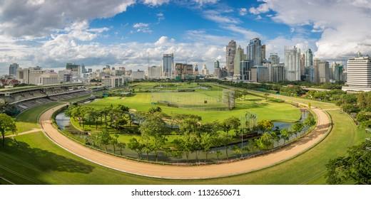 The Royal Bangkok Sports Club and skyscrapers in Siam district panoramic view taken from Pridalai dormitory, King Chulalongkorn Memorial Hospital, Bangkok, Thailand, August 23th 2015