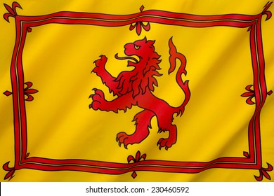 The Royal Banner of the Royal Arms of Scotland or more commonly the Lion Rampant of Scotland. Used historically by the King of Scots, the banner differs from Scotland's national flag, the Saltire.