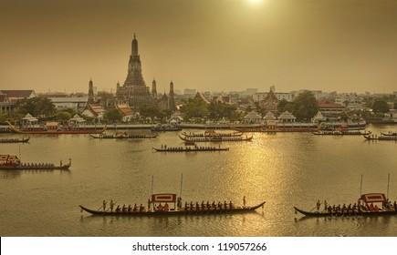 Royal Barge Procession on river Wat Arun,Thailand