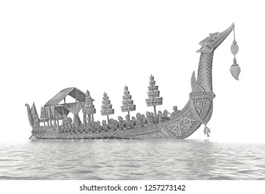 Royal Barge Suphannahong. Banknotes of the Tailand 100 Baht. bank note. Thailand Baht is the national currency of Thailand. Close Up UNC Uncirculated - Collection