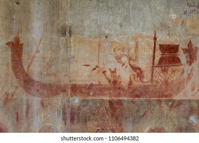 Royal boat ochre fresco in Angkor Wat temple, Siem Reap, Cambodia. Ancient ochre fresco on stone wall. Cambodian traditional art and craft. Tourist sightseeing photo. Ancient drawing on khmer temple