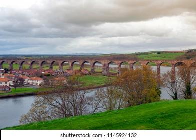 Royal Border Bridge, the railway viaduct across the River Tweed between Berwick-upon-Tweed and Tweedmouth in Northumberland, England, UK