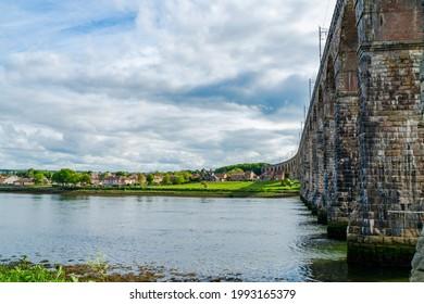 Royal Border Bridge spans the River Tweed between Berwick-upon-Tweed and Tweedmouth in Northumberland, England