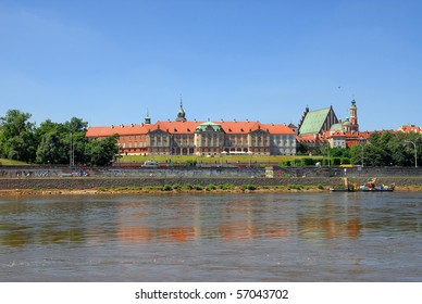 Royal Castle and Old Town in Warsaw riverside view.