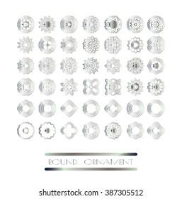 Royal circle design elements. Silver texture. Silver mandala on white background
