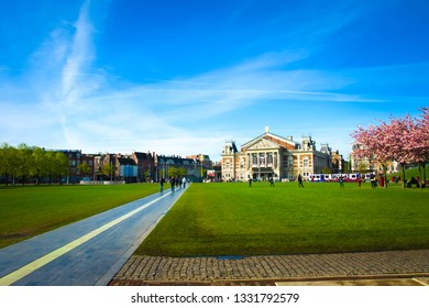 Royal Concertgebouw, a concert hall in Amsterdam. View of the Royal Concertgebouw, a concert hall in Amsterdam. Medieval building 'Concertgebouw' at the Museumplein -Medieval building in Amsterdam