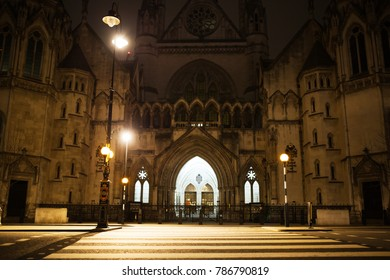 Royal Courts of Justice at night, Strand, London, UK -  - building from the XIX century