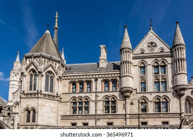 Royal Courts of Justice in the Victorian Gothic style (Law Courts, designed by George Edmund Street, was opened by Queen Victoria in December 1882) in London, UK.
