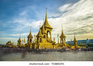 Royal crematorium. The royal pyre for royal funeral of H.M. King Bhumibol Adulyadej at Sanamlaung, Bangkok, Thailand. Long exposure, Moving crowd.