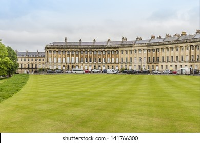 Royal Crescent (architect John Wood the Younger, 1774) - street of 30 terraced houses laid out in a sweeping crescent in Bath. Bath is a city in ceremonial county of Somerset in South West England.