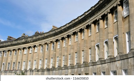 The Royal Crescent in Bath England - Landmark Architectural Example of a Georgian Era Luxury Town Houses