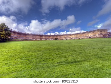 The Royal Crescent in Bath England seen from the Victoria Park